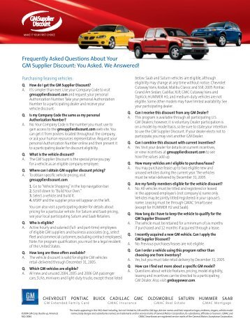 Frequently Asked Questions About Your GM Supplier Discount: You ...