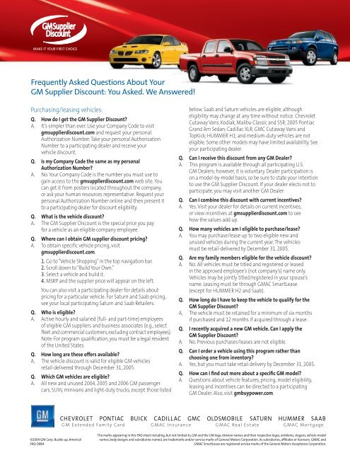 Gm Extended Family Card >> Frequently Asked Questions About Your Gm Supplier Discount