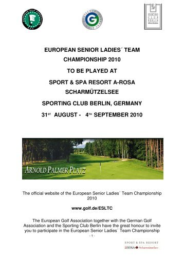 european senior ladies´ team championship 2010 to be played
