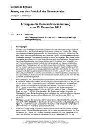 Antrag an die Gemeindeversammlung vom 13. Dezember 2011