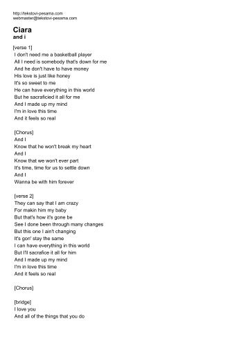 Ciara - Tekstovi pesama