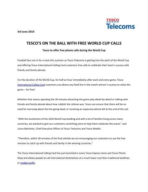 International Calling Cards 2010 World Cup     - Tesco Phone