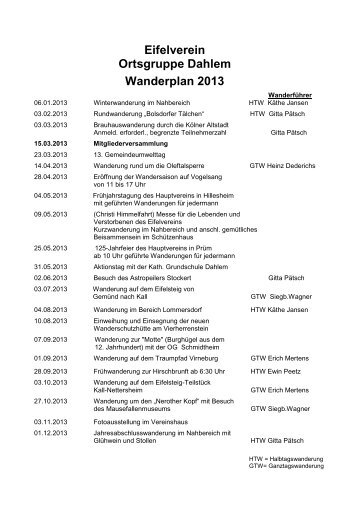 Eifelverein Ortsgruppe Dahlem Wanderplan 2013