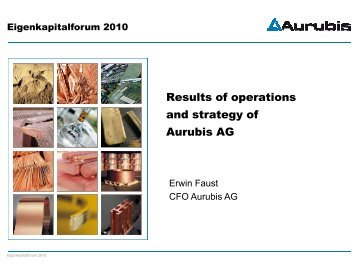 Results of operations and strategy of Aurubis AG - Deutsches ...