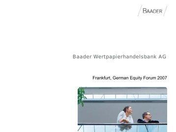 Baader Wertpapierhandelsbank AG - Deutsches Eigenkapitalforum