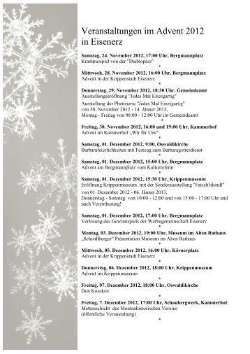 Veranstaltungen im Advent 2012 in Eisenerz