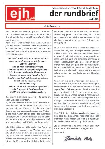 Juli 2013 - ejh - evangelisches jugendwerk bezirk heidenheim