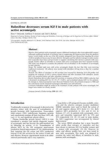 Raloxifene decreases serum IGF-I in male patients with active ...