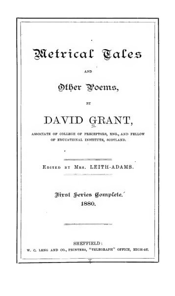 Metrical tales, and other poems; - Electric Scotland