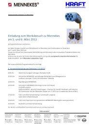 Einladung zum Werksbesuch zu Mennekes am 5. und 6. März 2013