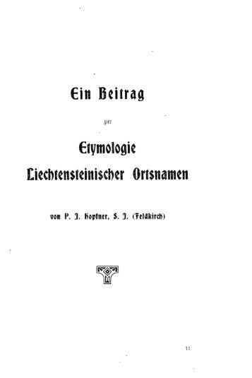 ein veitrag Llvwologie Liechtensteinischer Ortsnamen