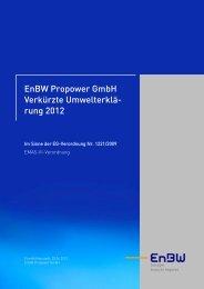 EnBW Propower GmbH Verkürzte Umwelterklä- rung 2012 - EMAS