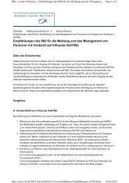 RKI - Empfehlungen/Managment bei Influenza