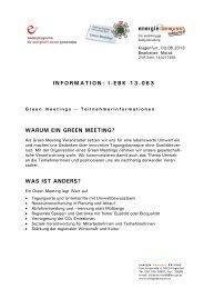 Green meetings - energie:bewusst Kärnten