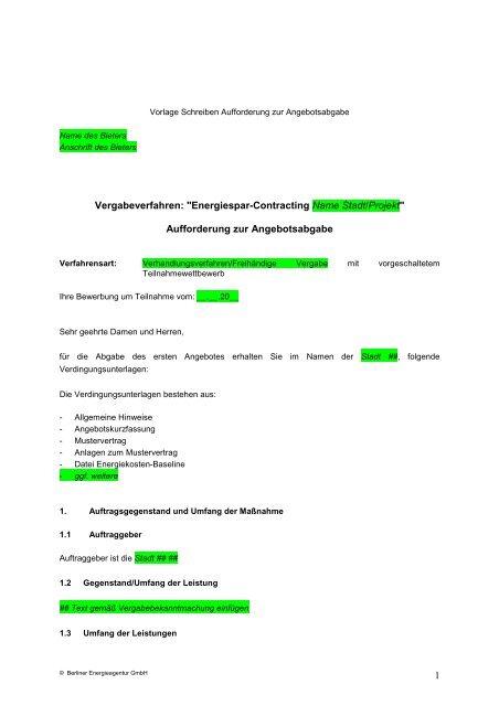 Aufforderung Zur Angebotsabgabe Energieland Hessen