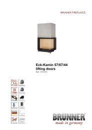 Eck-Kamin 57/67/44 lifting doors made in germany - Brunner