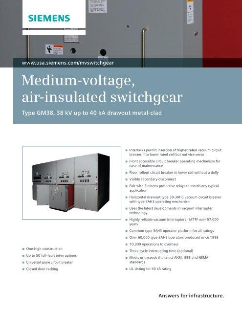 Medium-voltage, air-insulated switchgear - siemens