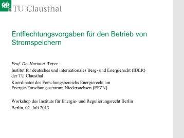 Prof. Dr. Hartmut Weyer, Technische Universität ... - Institut für Energie
