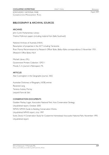 bibliography & archival sources - Department of Environment and ...