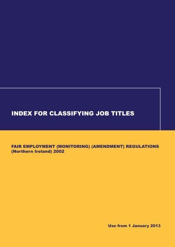 index for classifying job titles - Equality Commission Northern Ireland