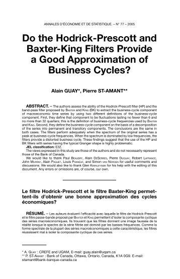 Do the Hodrick-Prescott and Baxter-King Filters Provide a ... - UQAM