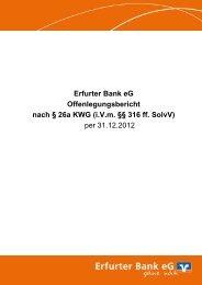Offenlegungsbericht nach § 26a KWG per 31.12 ... - Erfurter Bank eG