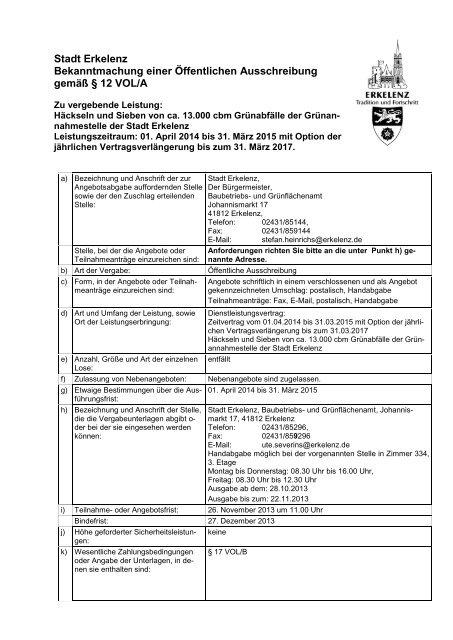 Stadt Erkelenz Bekanntmachung einer Öffentlichen Ausschreibung ...