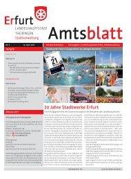 Amtsblatt Nr. 7 vom 15. April 2011 der Landeshauptstadt Erfurt