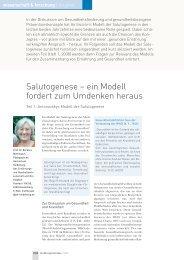 Salutogenese – ein Modell fordert zum Umdenken heraus