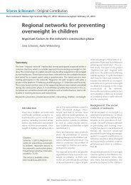 Regional networks for preventing overweight in children