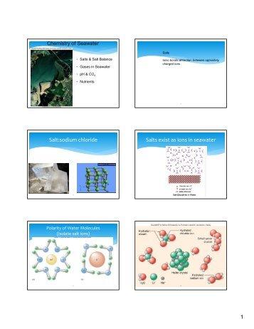 Salt:sodium chloride Salts exist as ions in seawater