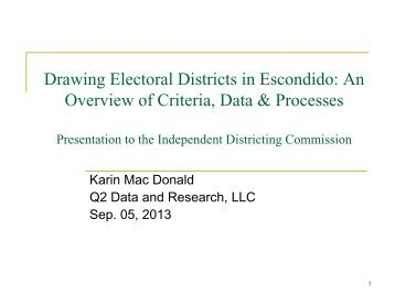Drawing Electoral Districts in Escondido: An ... - City of Escondido