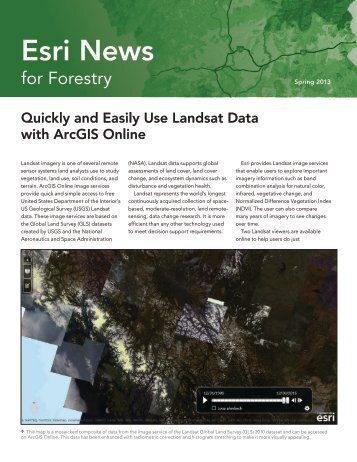 Quickly and Easily Use Landsat Data with ArcGIS Online - Esri