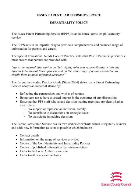 ESSEX PARENT PARTNERSHIP SERVICE IMPARTIALITY POLICY