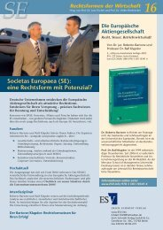 Societas Europaea (SE): eine Rechtsform mit Potenzial?