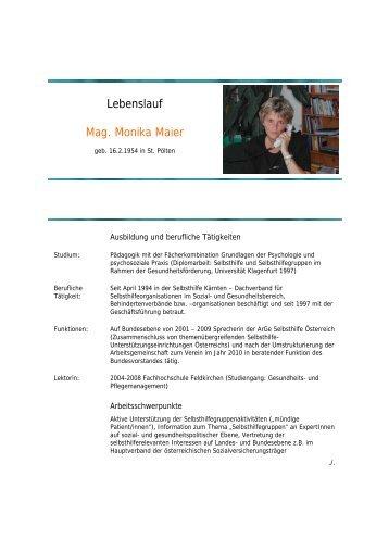 Lebenslauf Mag. Monika Maier - Ethikkommission des Landes Kärnten