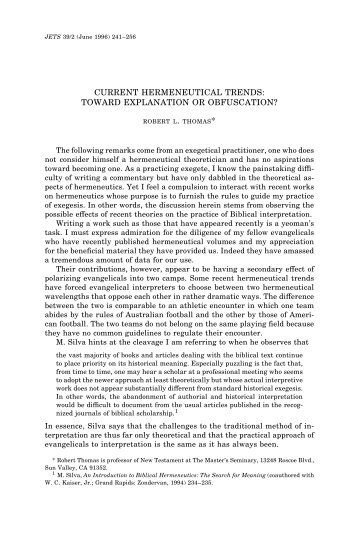 current hermeneutical trends: toward explanation or obfuscation?