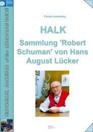 Sammlung 'Robert Schuman' von Hans August Lücker - European ...