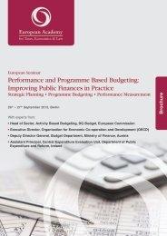 Performance and Programme Based Budgeting: Improving Public ...