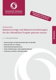 Rahmenverträge und Rahmenvereinbarungen bei der öffentlichen ...
