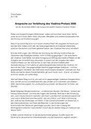 Ansprache zur Verleihung des Viadrina-Preises 2008