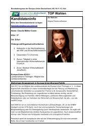 Europa-Union Kongress 2013 Formblatt Kandidateninfo
