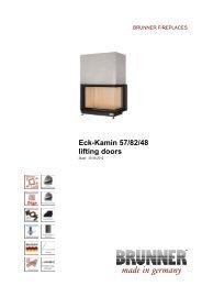 Eck-Kamin 57/82/48 lifting doors made in germany - Brunner