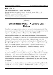 British Radio Drama - European MediaCulture