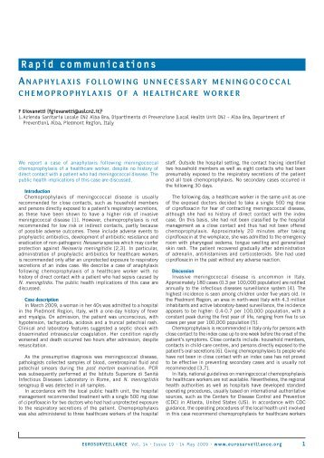 AnAphylAxis following unnecessAry meningococcAl ...