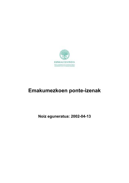 Emakumezkoen ponte-izenak (PDF, 106,9 kB) - Euskaltzaindia