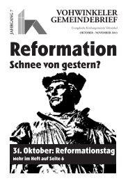 Die aktuelle Ausgabe Okt - Evangelische Kirchengemeinde Vohwinkel