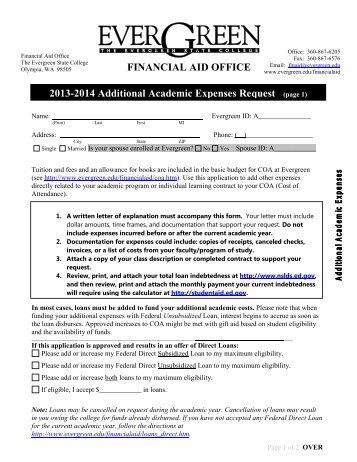 Additional Academic Expenses Request Form - The Evergreen State ...