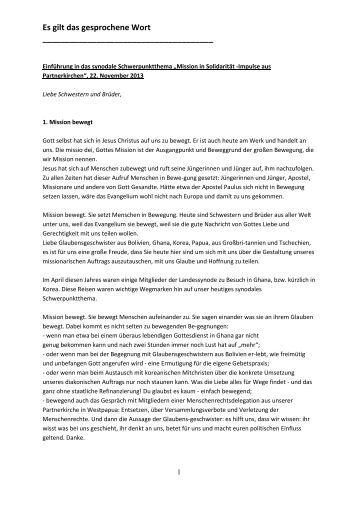 Einführungsrede von Oberkirchenrat Manfred Sutter - Evangelische ...