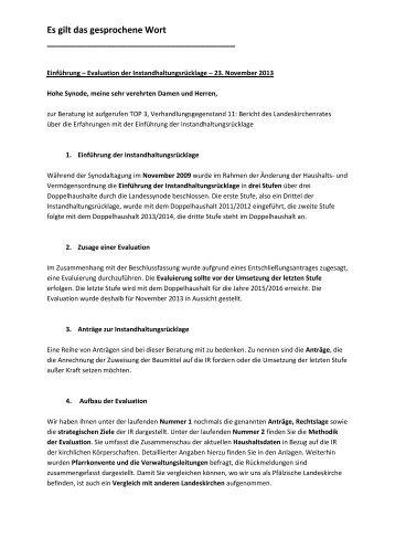 Einführungsrede von Oberkirchenrätin Karin Kessel zur ...
